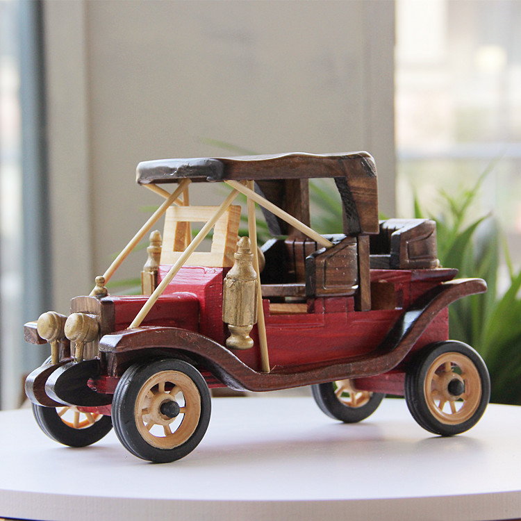 1 Piece 2016 Sale Rushed Annatto Home Decor European Garden Home Furnishing Wooden Crafts Ornaments Handmade Vintage Car Model(China (Mainland))