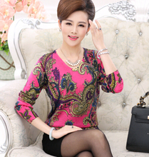 2016 autumn new casual relaxed middle-aged mother dress long-sleeved cashmere retro sweater(China (Mainland))