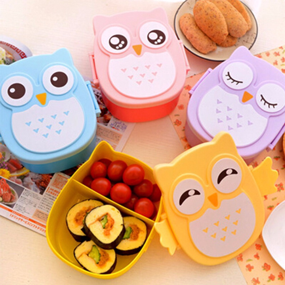 1050ml cartoon owl lunch box food fruit storage container. Black Bedroom Furniture Sets. Home Design Ideas