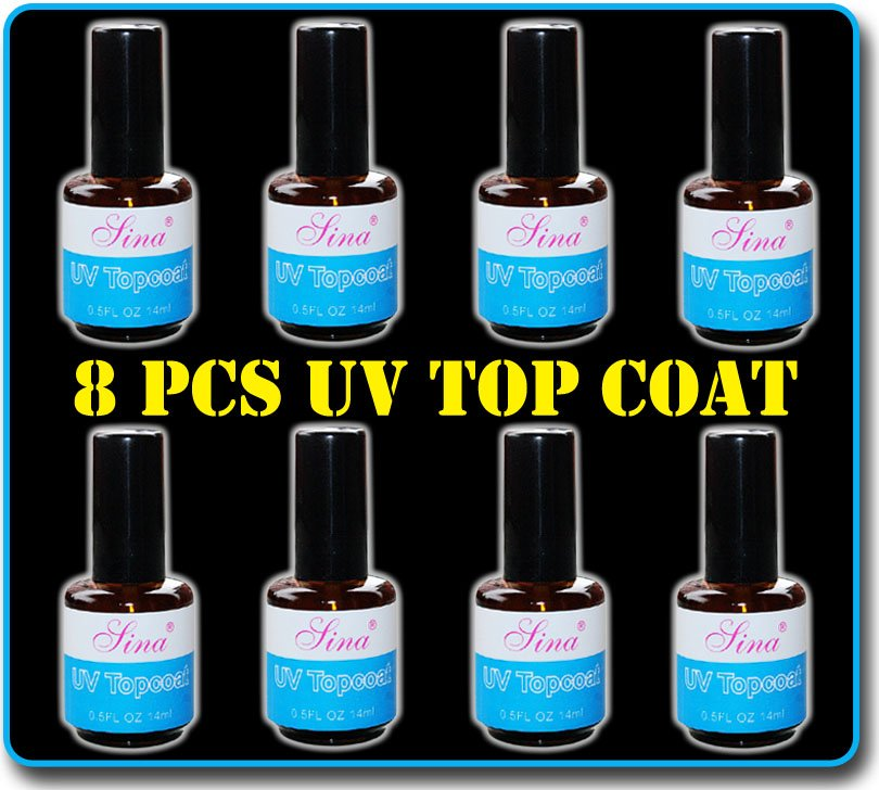 8 PCS Nail Art Top Coat UV Gel Gloss Guard Glaze Manicure Nail Art UV Gel Polish 15 ml Free Shipping Wholesale(China (Mainland))
