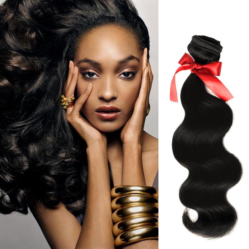 EVET Brazilian Virgin Hair Body Wave Hair Weaving Extensions 5A Grade 1pcs/lot 1B Color 100% Brazilian Human Hair Wave Top Grade