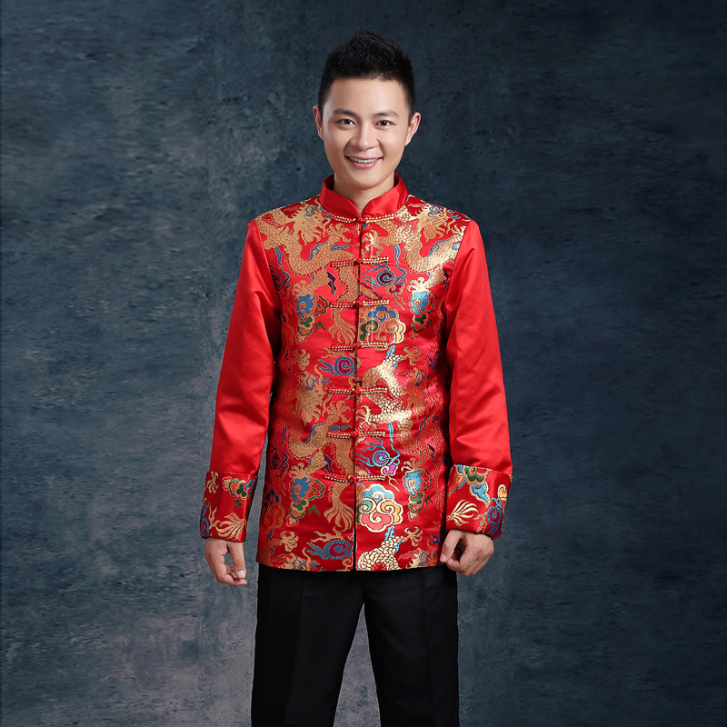 .com : Buy Chinese men's winter wedding dress toast clothing clothes ...