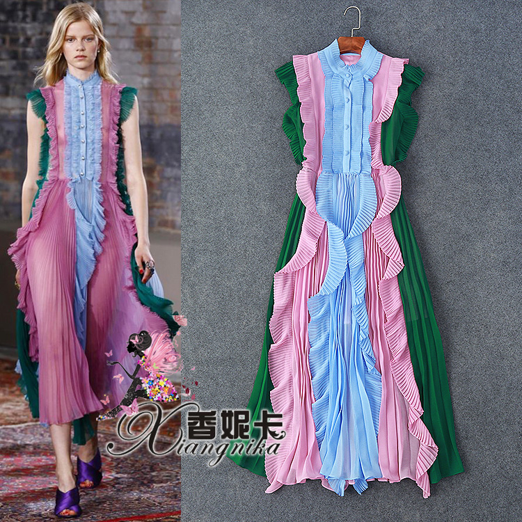 runway  2016 women spring summer fashion multi-color ruffled butterflyed sleeve pleated sexy formal maxi club party dressОдежда и ак�е��уары<br><br><br>Aliexpress