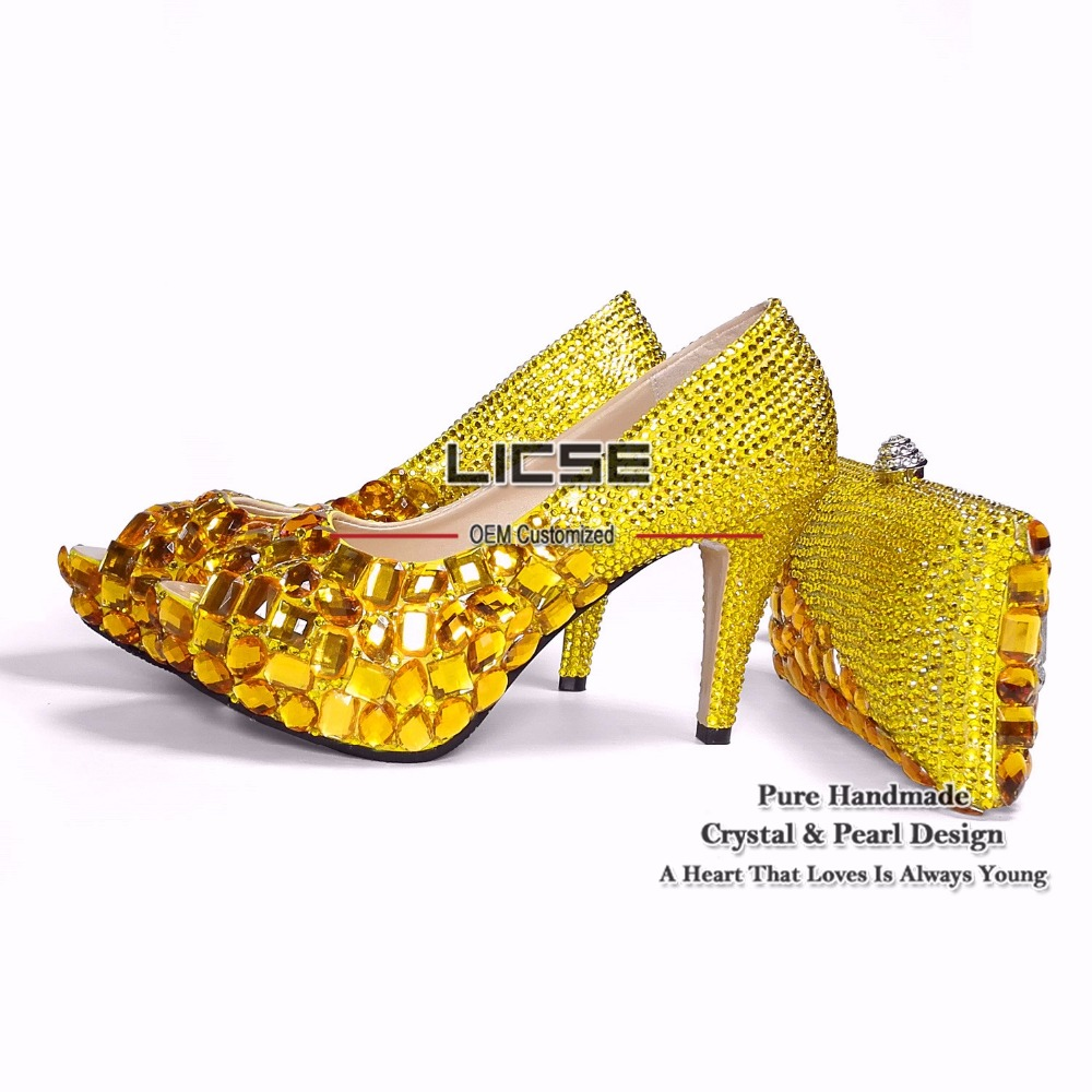 LICSE Luxury Bridal 10cm Shoe Handmade Platform Pumps Gold Diamonds Shing Wedding Party Matching Shoes and Clutch Bags for Woman(China (Mainland))