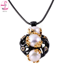 Buy ZHE FAN Black Gold Color Jewelry Necklace Women Simulated Pearl Unique Two Tone Plating Fashion Christmas Gift + Chain Jewellery for $8.68 in AliExpress store