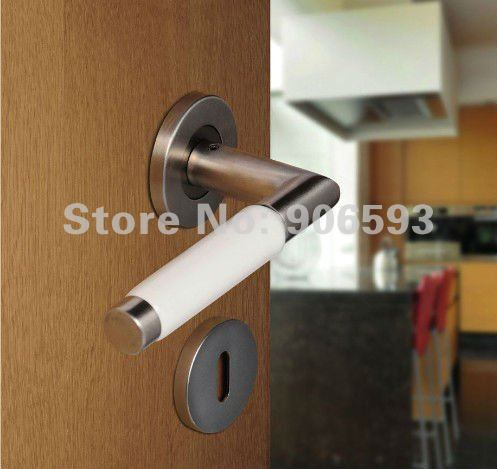 6pairs lot free shipping Modern stainless steel white porcelain door handle/handle/lever door handle<br><br>Aliexpress