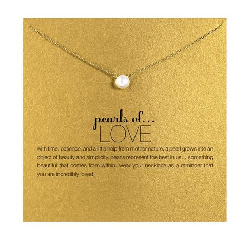 Hot sale imitation pearl of love plated 14k gold Pendant Necklaces Clavicle Chains necklace Fashion Chain Necklace Women Jewelry(China (Mainland))
