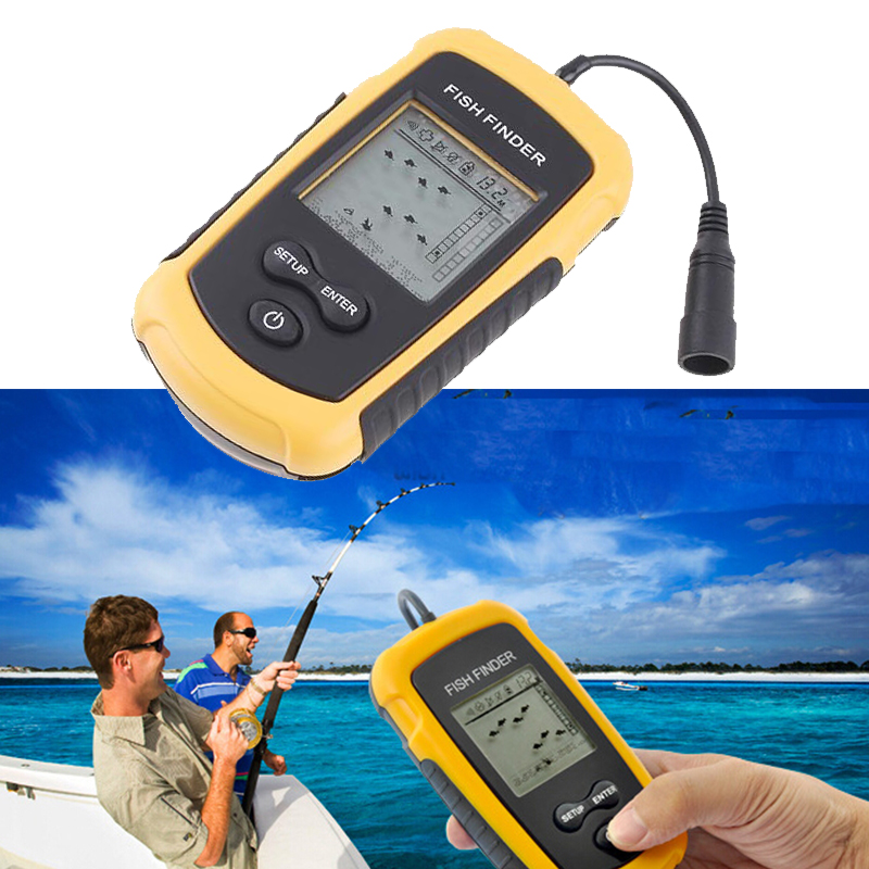 1 piece Outdoor Sport Portable Sonar LCD Tester Fish Finder Alarm depth 100M AP fishing Transducer fishing finder(China (Mainland))
