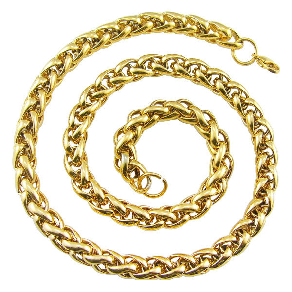 10mm Mens Chain Boys Jewellery Wheat Link Yellow Gold Filled GF Necklace Customized Wholesale Jewelry Free Shipping NK4295(China (Mainland))