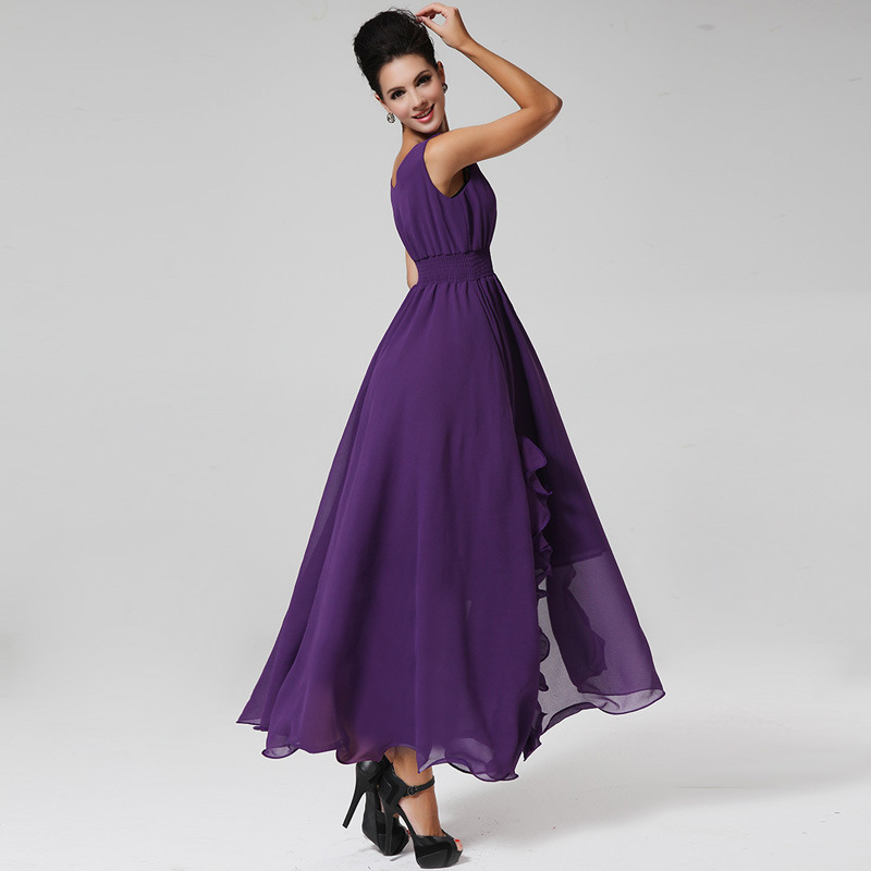 2015 New Summer Dress Fashion Chiffon Long Dress Summer Style Women Clothes Fork Maxi Dress