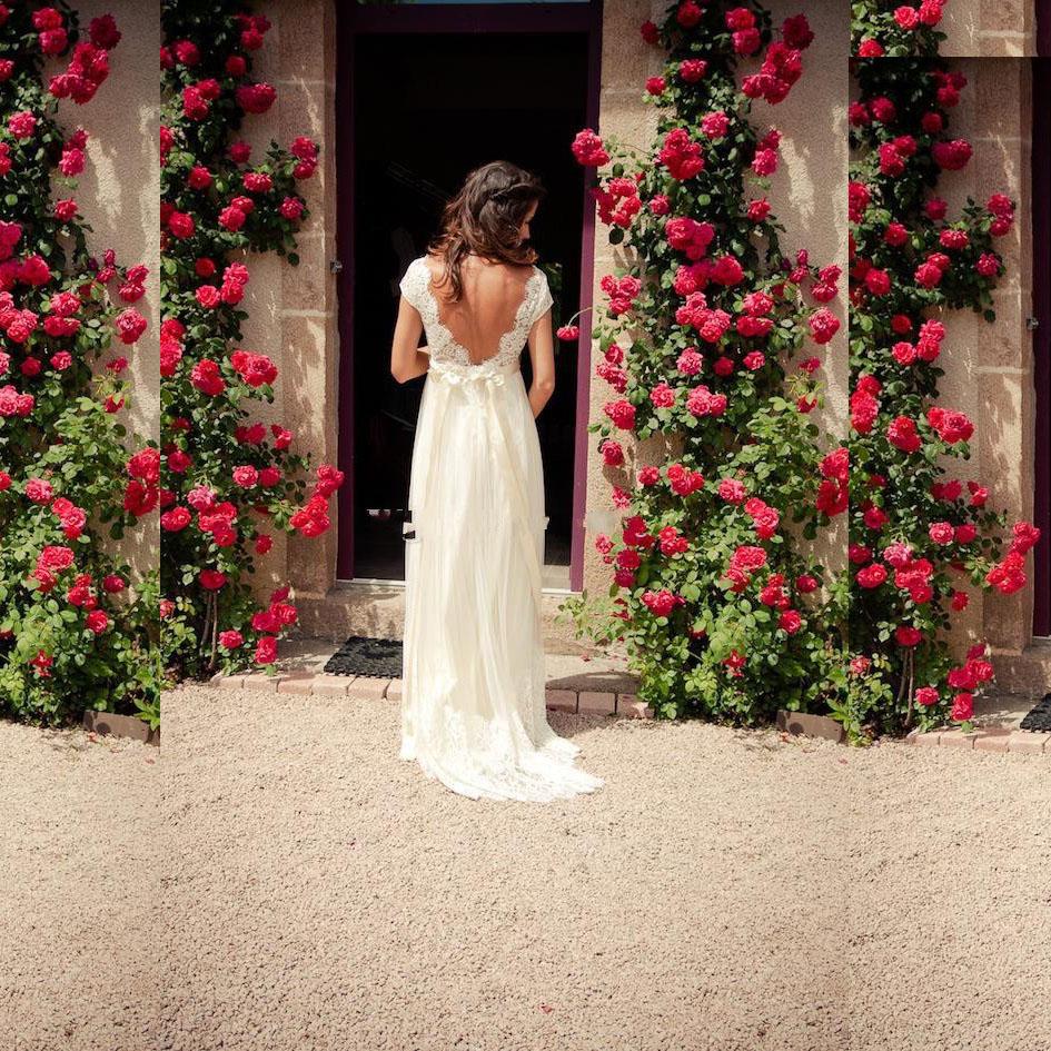 2016 new bohemia wedding dress v neck cap sleeve open back for Cap sleeve open back wedding dress