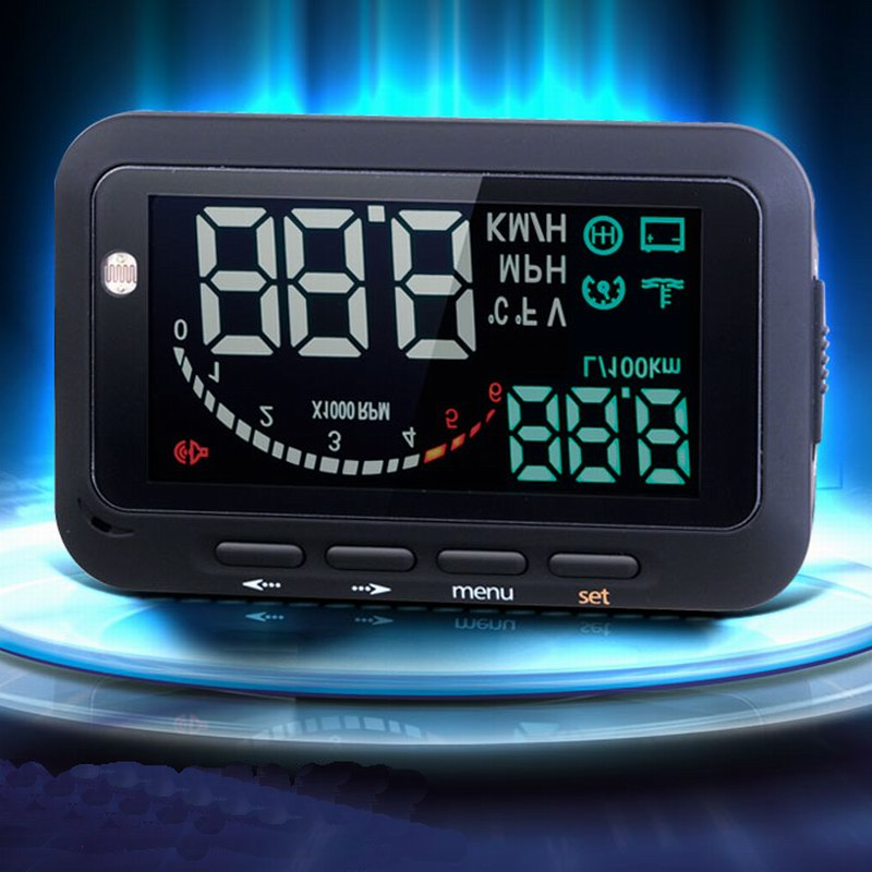 Car HUD Vehicle-mounted 1.5M Long OBD2 HUD Head Up Display with Fuel Consumption Overspeed funtion easy operate YA076-SZ(China (Mainland))
