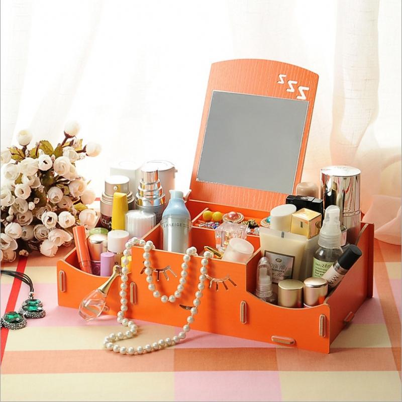 New smiling face wooden creative storage box diy desktop makeup mirror finishing drawer organizers separators(China (Mainland))
