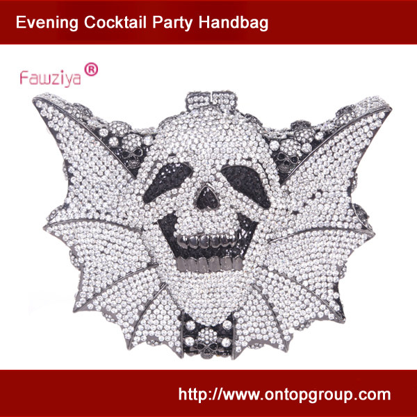 Skull bat shape clutch handbag wedding crystal bag fashion ladies party purse clutches<br><br>Aliexpress