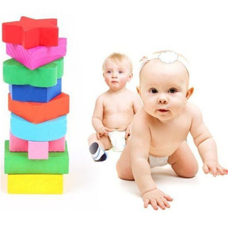 Promotion Wooden 9 Shapes Colorful Puzzle Toy Baby Educational BlocksToy(China (Mainland))