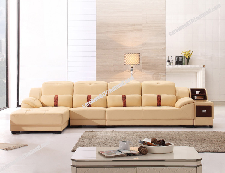 High quality modern beige cheap l shaped geniue leather - Sofa para salon ...