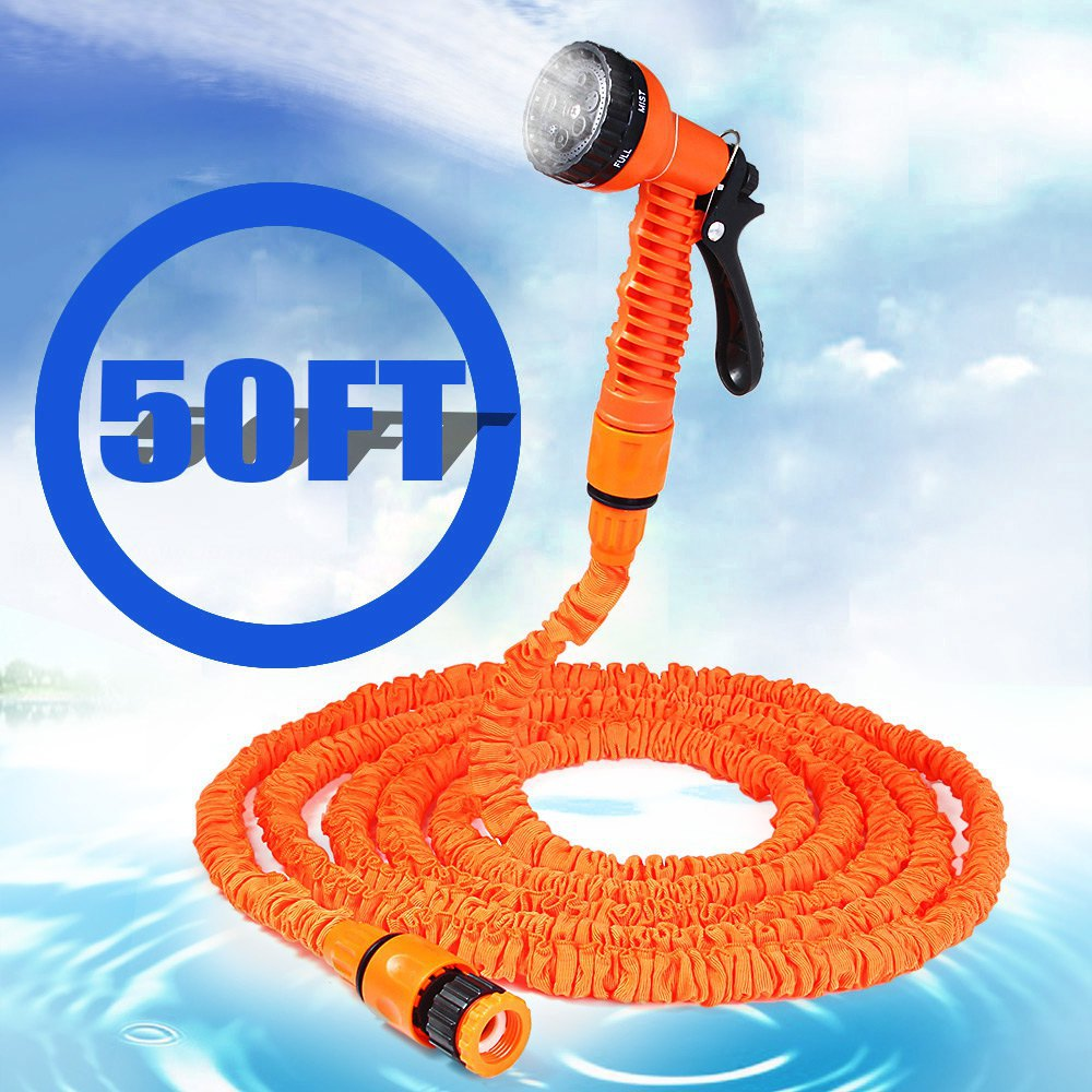 50FT Expandable Magic Garden Hose Water for Yard and Car Pipe Watering Plastic Connector With 7