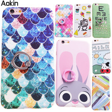 Aokin Colorful Diamond Lattice Ring Holder Case Cover For iPhone 7 Plus Case Fashion Animal For iPhone 6 Plus 6s Plus(China (Mainland))