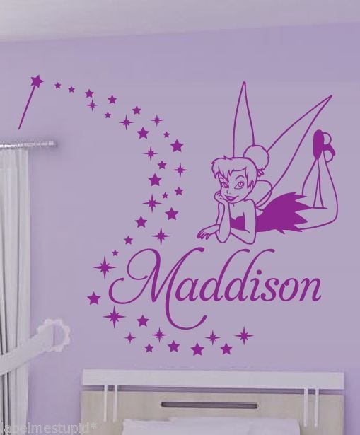 Customer-made tinker-bell vinyl wall stickers kids children personalized home decoration decor mural -You Choose Name and Color(China (Mainland))