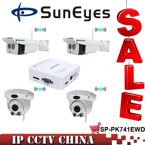 SunEyes SP-PK741EWD 4CH Wireless IP CCTV Camera Systems with MINI NVR Two Indoor and Two Outdoor 720P HD IP Camera Kit<br><br>Aliexpress