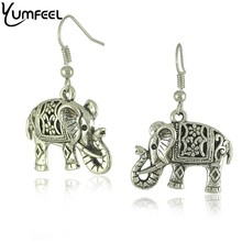 Unique Tibetan Silver Hollow Carved Elephant Drop Dangle Fashion Vintage Earrings For Women(China (Mainland))