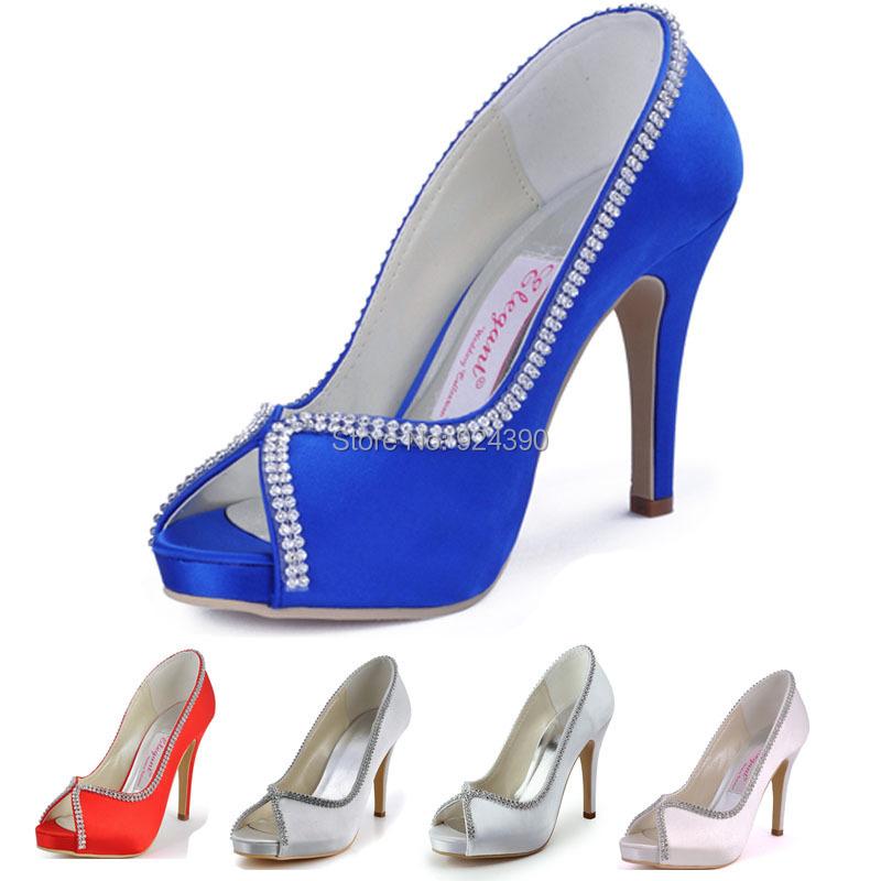 Womans Satin Wedding Shoes Custom Made High Heels Party shoes Fashion White Rhinestones Platforms EP11083-IP(China (Mainland))