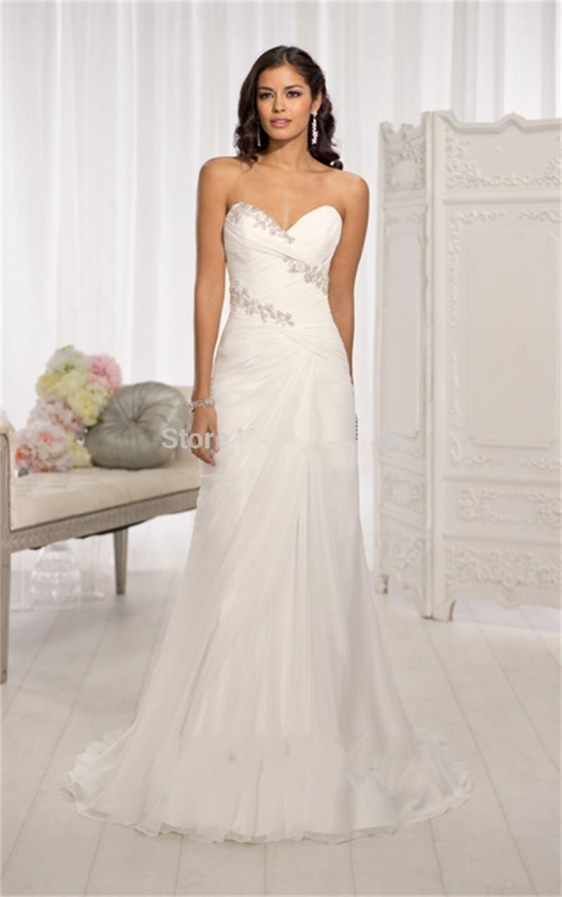 vestido de noiva beaded a line chiffon sweetheart beach wedding dress 2015 under 100 cheap