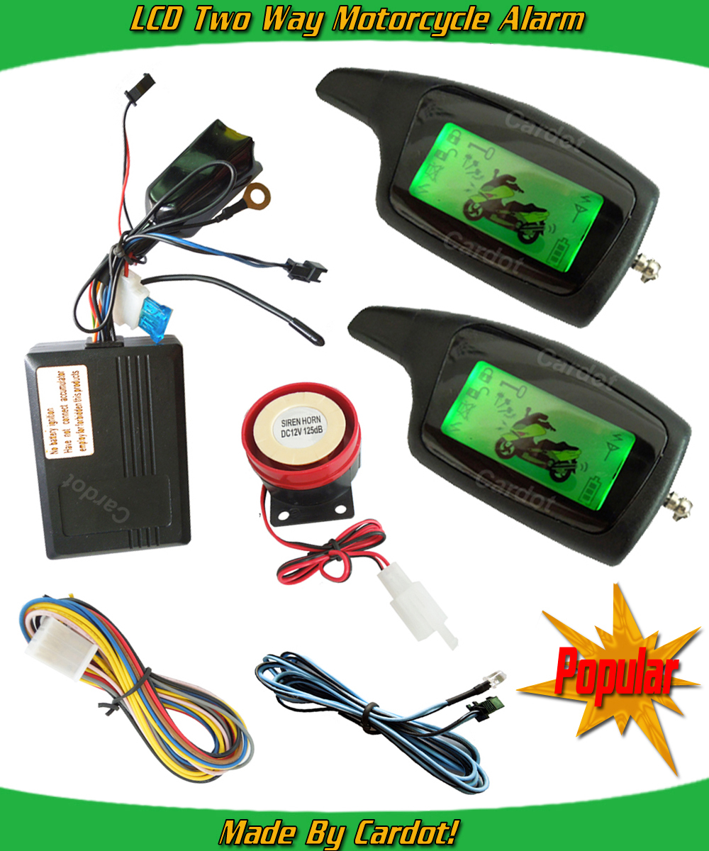 Hot selling russian two way motorcycle alarm LCD remotes vibration and light alarm long distance remote anti-hijacking