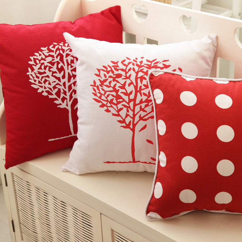 2015 plaid canape velour rouge throw pillows red. Black Bedroom Furniture Sets. Home Design Ideas
