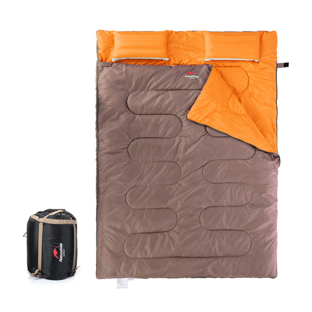 Camping Double Sleeping Bag with Inflatable Pillow