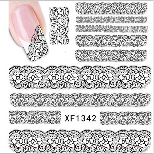 1 sheets Lace 3D Black Flower Design Water Transfer Nail Art Sticker Decal French Half Wraps Manicure Foils Stamp Tools #XF1342(China (Mainland))