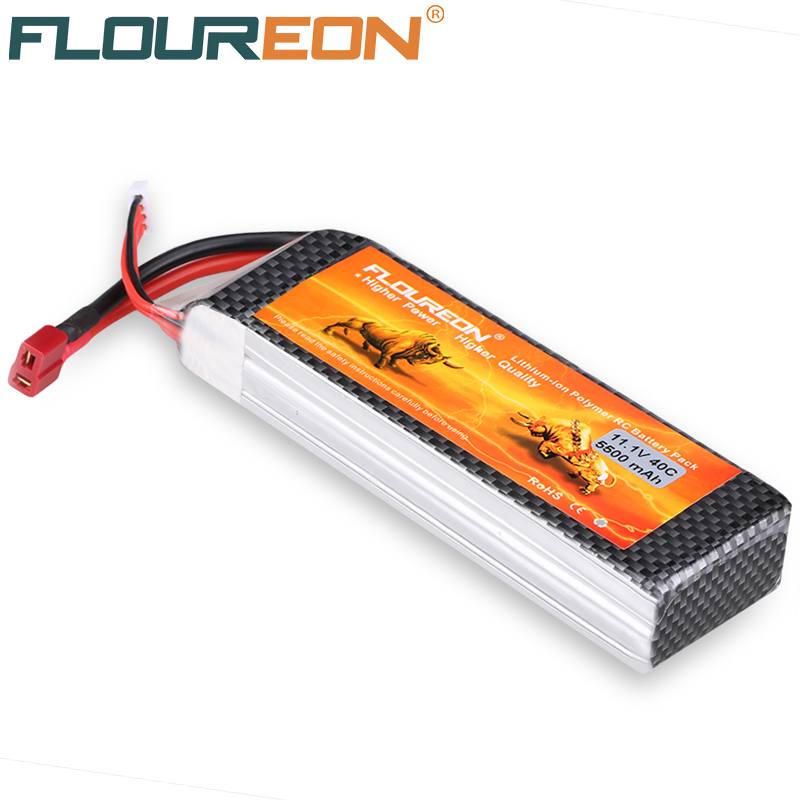 FLOUREON 11.1V 5500mAh 40C Lipo 3S RC Helicopter Battery Pack for RC Control Toy Rechargeable Deans T Plug Li-Polymer Battery(China (Mainland))