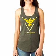 Hot Official Pokemon Go Emblem Apparel Team Valor Mystic Instinct Ladies Tank Tops PKM01(China (Mainland))