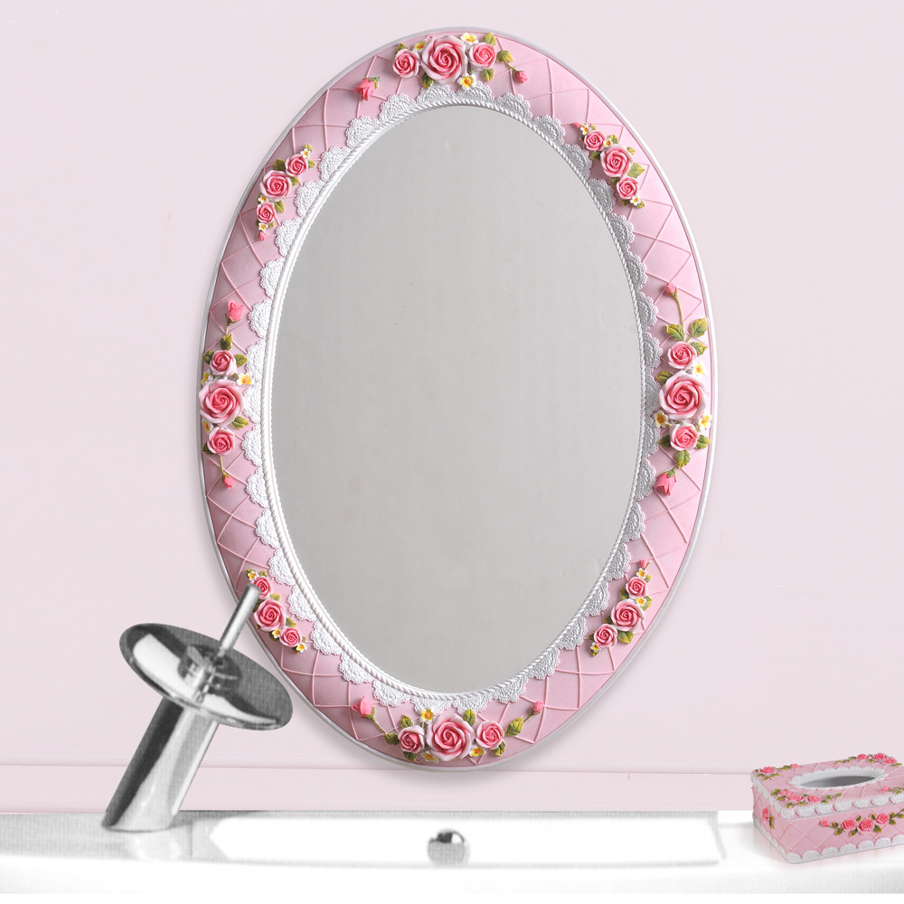 Home Fashion Rustic Oval Mirror Vanity Mirror Rose Series