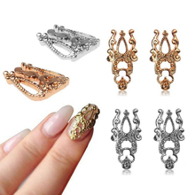 1Set/10pcs 2015 New Gold/Silver Hollow Out 3D Metal Alloy Nail Art Beauty Stickers Jewelry For 3D Nails Decoration