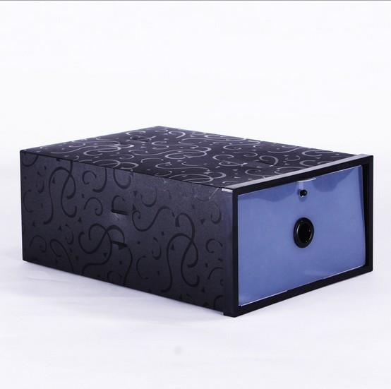 Wholesale 6pcs New 2014 Black Plastic Shoe Box Multifunction Storage Boxes Folding Case Plastic Shoe Box For Men (0807-5)(China (Mainland))
