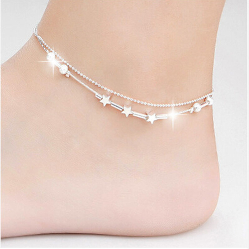 Brand new 2015 Little Star Women Chain Ankle Bracelet Foot Jewelry for women lady's Barefoot Sandal Beach(China (Mainland))
