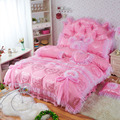 Jacquard bedding set quilted satin bedspread wedding bedsheet pink bedding lace duvet covers cotton bedding cushion