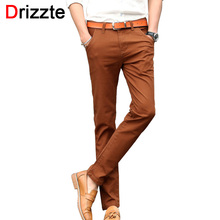 Drizzte Mens 4 Color Slim Chino Soft Denim Stretch Jeans Pants Dress Trouser brown black coffee orange Size 32 33 34 36 38(China (Mainland))