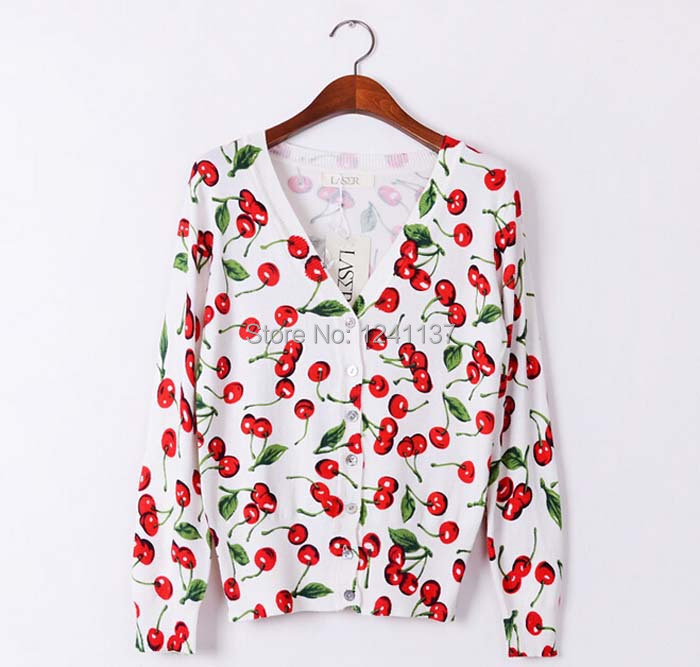 High quality CARDIGAN 2014 Cherry Printed shell buttons Knitted Sweater Women Large size long sleeves Cardigan Sweater woman(China (Mainland))