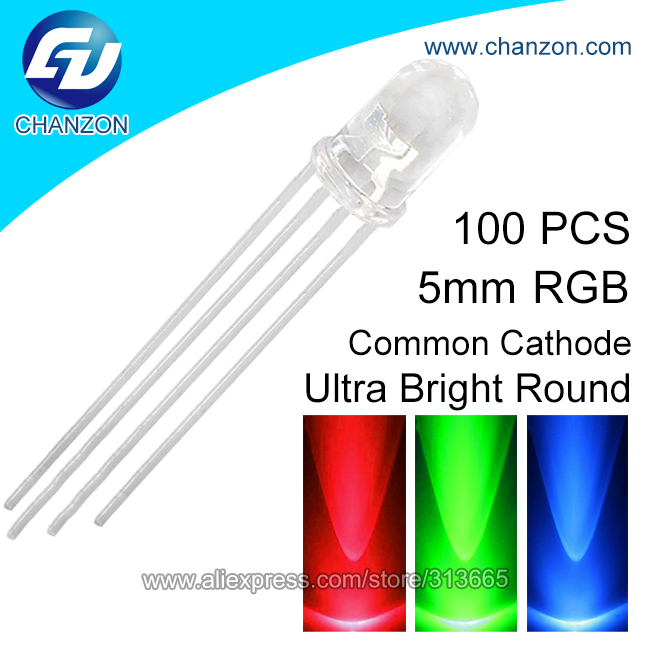 100pcs 5mm Ultra Bright Multi 3 Tri Color Tricolor Common Cathode 4 pin Through Hole DIP RGB LED Light Emitting Diode Lamp(China (Mainland))