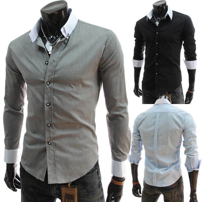 2015 casual long sleeve mens dress shirts social plain honbre blusas slim fit camisas masculina  -  DT boutique store