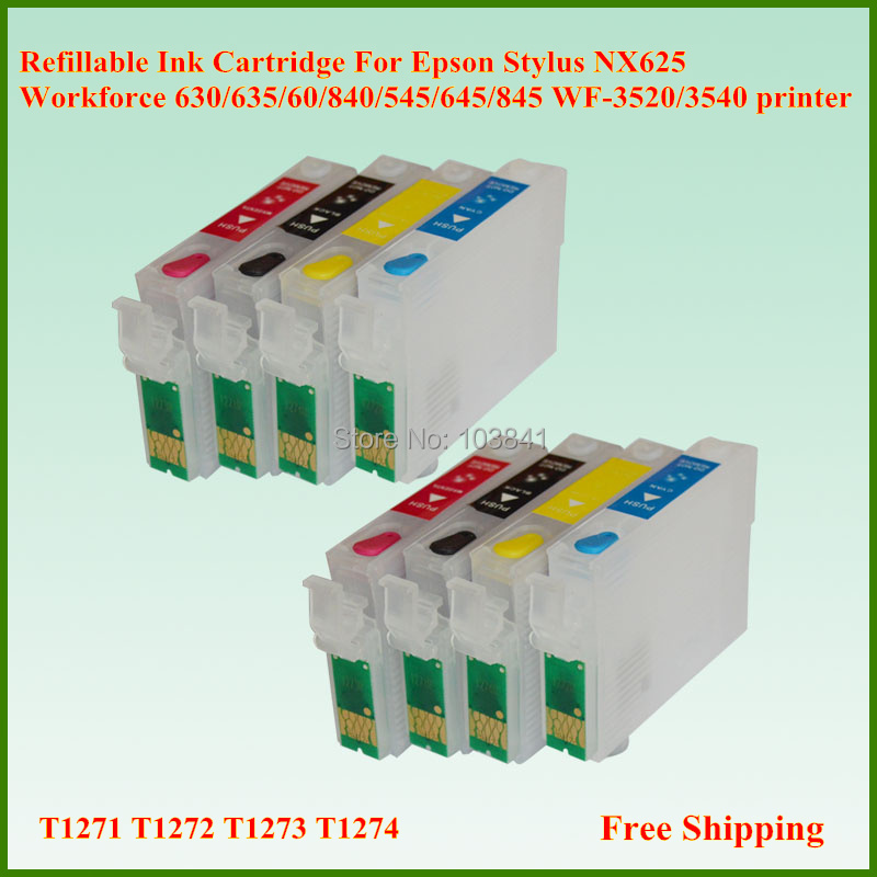 T1271-T1274 Refillable Ink Cartridges for Epson Workforce 545 630 635 NX625 WF3520 WF-3540 With Chip Ink Cartridge Free Shipping