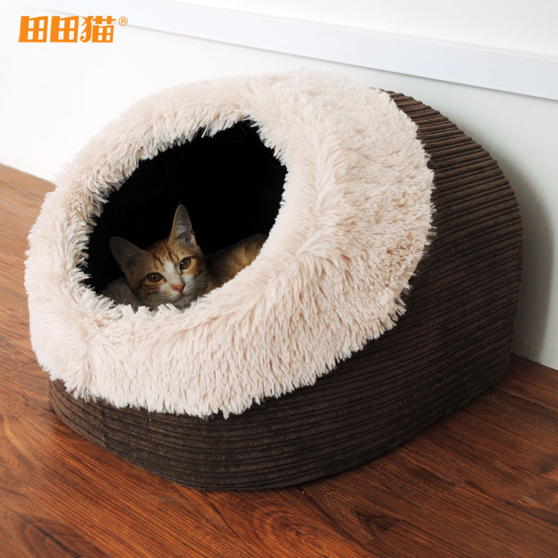 Hot Sale Cat House Thick Velvet Cat Bed Fluffy Soft Breathable Cotton Material Removable Yurt Warm Nostalgia Cat Bed(China (Mainland))