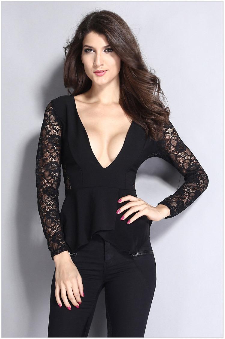 2015 Fashion charming Long sleeve new black Splice Lace sexy deep V-neck women Tees Flouncing ladies T shirt club tees(China (Mainland))