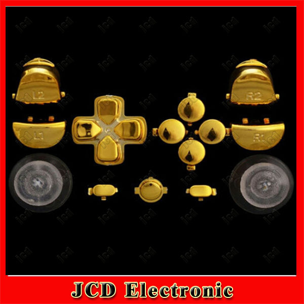 Chrome Gold Thumbsticks Dpad  R1 L1 R2 L2 Share Option Home Replacement Button Set For PS4 Controller<br><br>Aliexpress