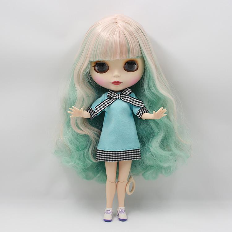 Фотография Special Cut Bjd Nude Blyth doll diy face green powder color  long hair with bangs long hair bythe baby dolls for girls