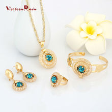 WesternRain Blue Stone Vintage Charm Necklace Vners jewellery,Fashion Jewelry Set(ensemble bijoux)For Women A202BU(China (Mainland))
