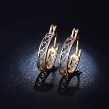 New 18K Gold Filled CZ Diamond Jewelry Exquisite Wedding Hoop Earrings For Women Brincos Boucle d'oreille Free Shipping BE029