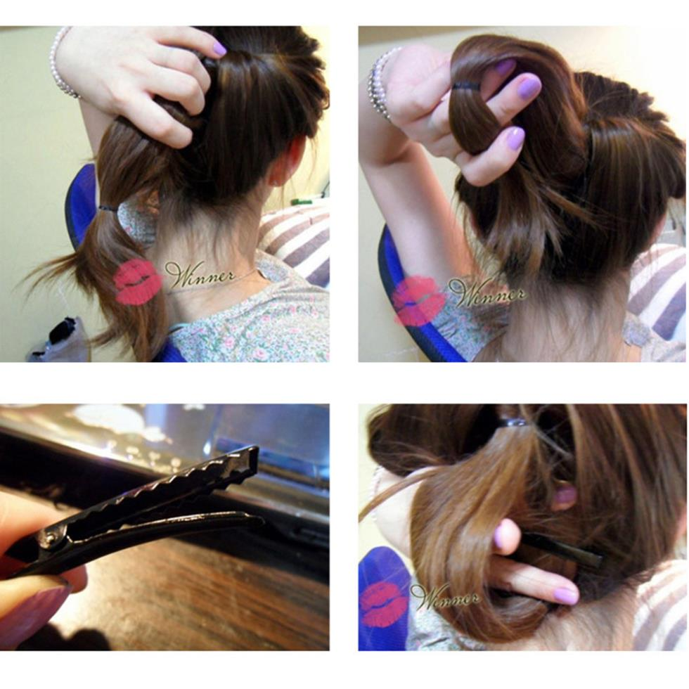 2* Plastic Topsy Tail Hair Styling Braider Ponytail Styling Bun Maker Clip Tool Black Curler Freeshipping(China (Mainland))